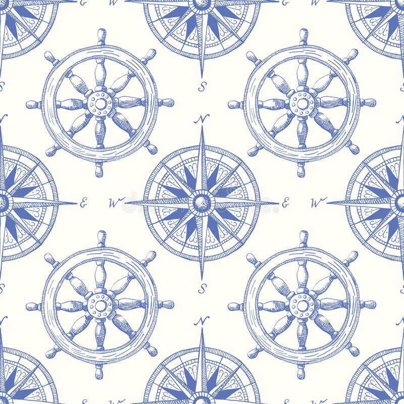 Vintage Nautical Hand-Drawn Ship Steering Wheel and Sea Compass Vector Seamless Pattern. Blue Marine Background. Sailing Objects stock illustration