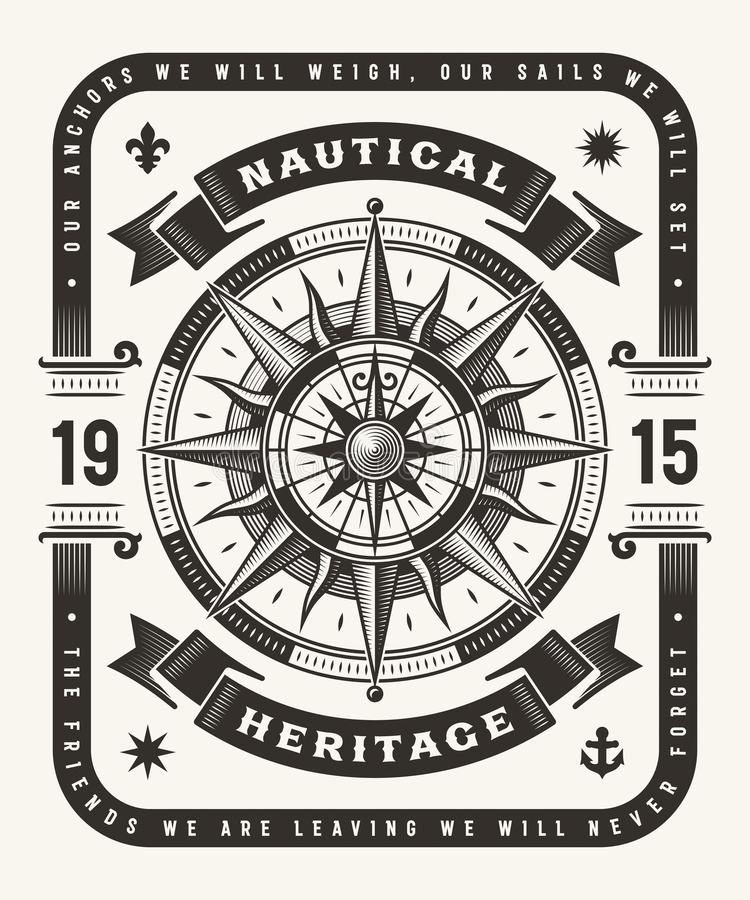 Vintage Nautical Heritage Typography One Color. Vintage nautical heritage typography, t-shirt and label graphics with compass rose. Editable one-colored EPS10 vector illustration