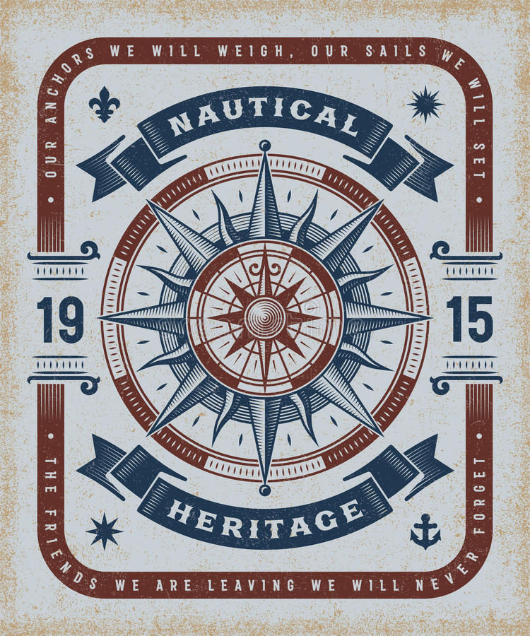 Vintage Nautical Heritage Typography. T-shirt and label graphics with compass rose. Editable EPS10 vector illustration in woodcut style vector illustration