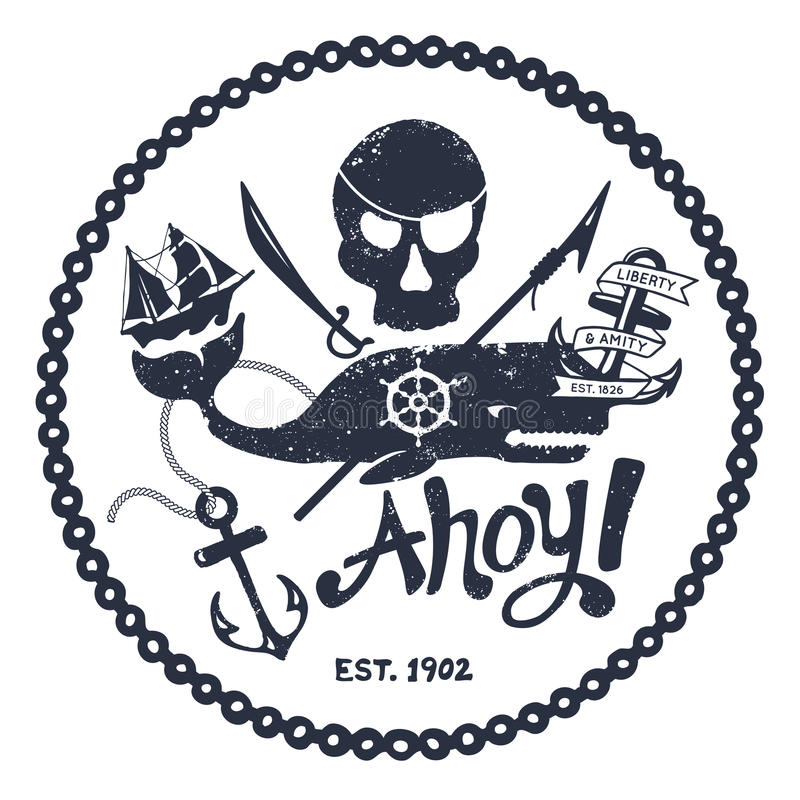 Vintage nautical illustration vector illustration