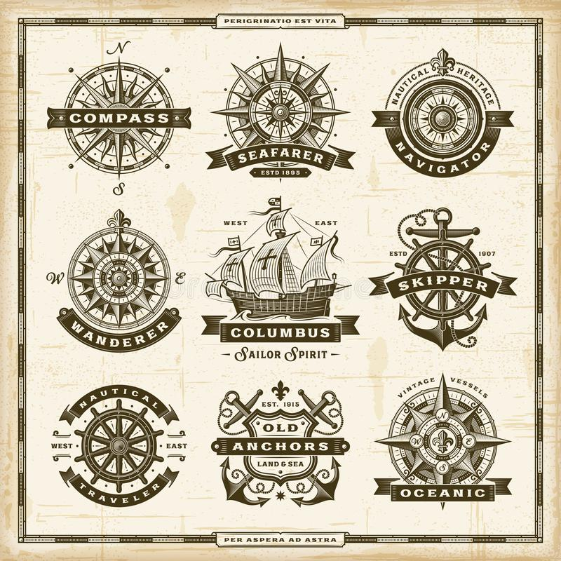 Vintage nautical labels collection. A set of vintage nautical labels in retro woodcut style. Editable EPS10 vector illustration vector illustration