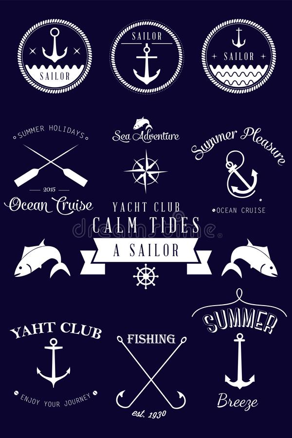 Vintage nautical labels collection. Vector set. stock illustration