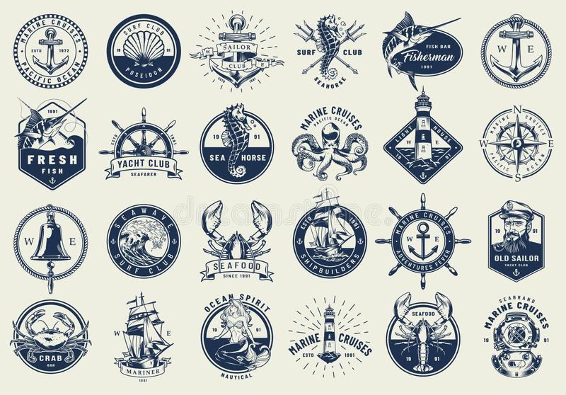 Vintage nautical labels collection. With marine and sea elements in monochrome style isolated vector illustration stock illustration