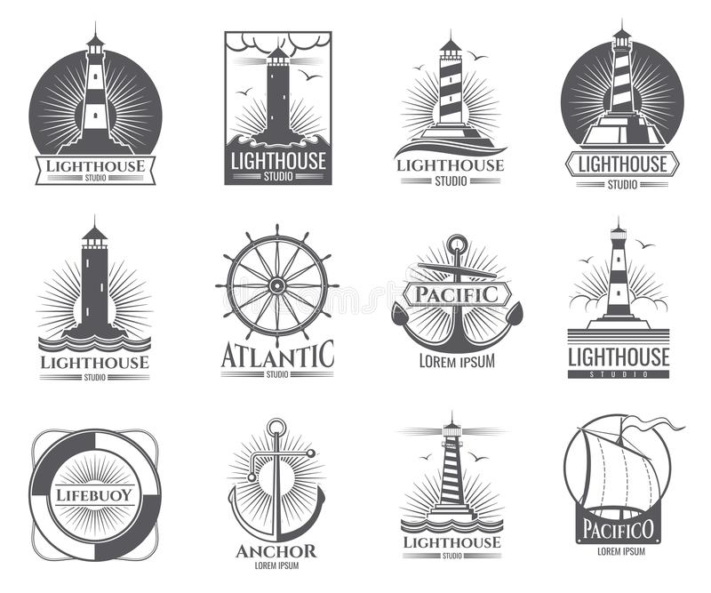 Vintage nautical labels with light house, sea boat and anchors. Old navy logos set vector illustration