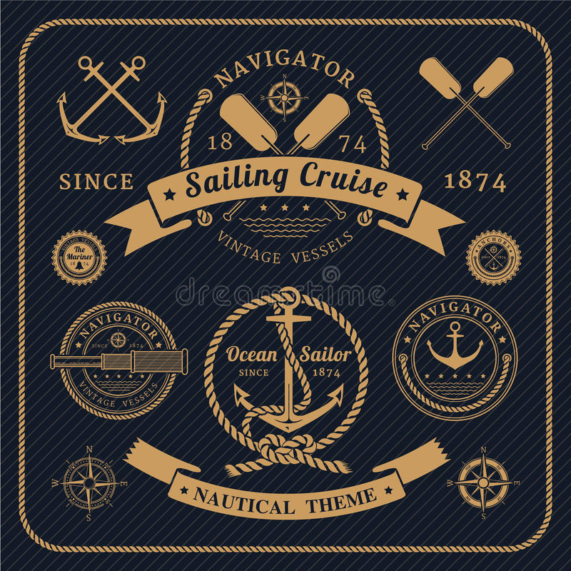 Free Vintage Nautical Labels Set On Dark Background Royalty Free Stock Images - 53685859