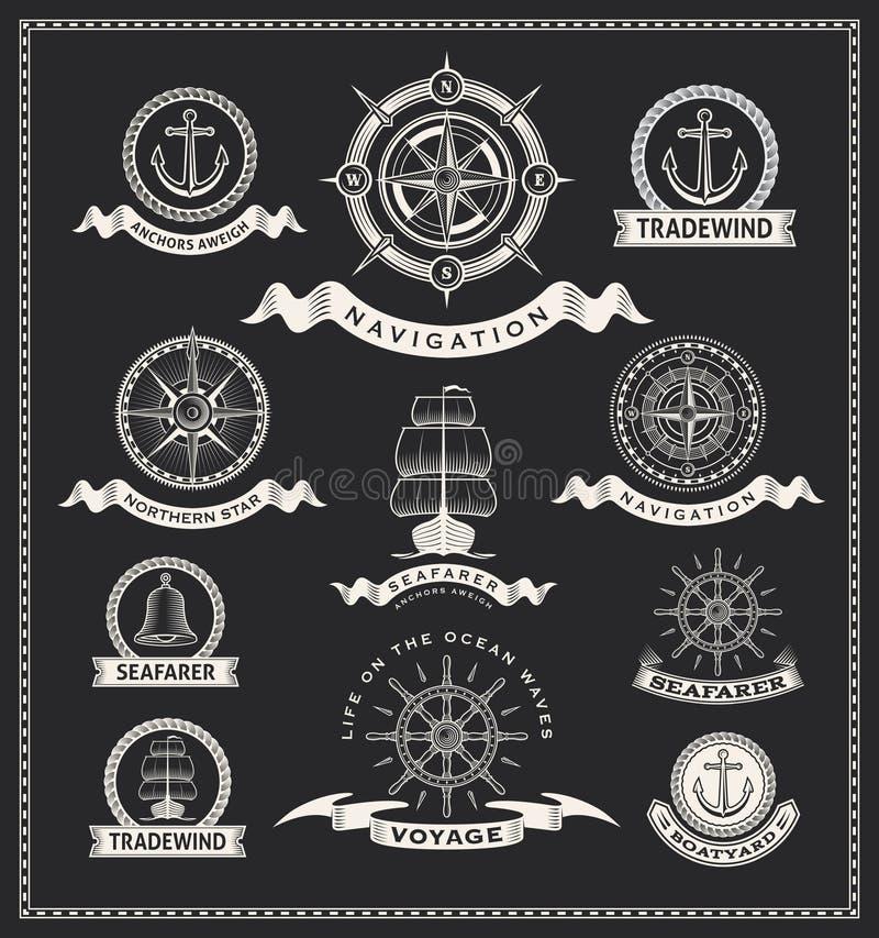 Vintage nautical labels vector illustration