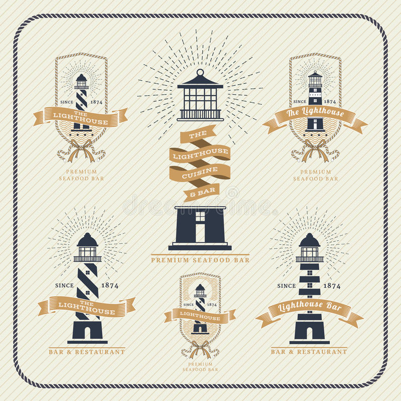 Vintage nautical lighthouse and ribbon labels set royalty free illustration