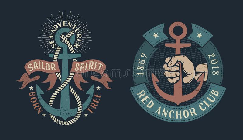 Vintage nautical logos. Two vintage nautical logos with an anchor, heraldic ribbons, ropes, hand of sailor. Dark background. Shabby worn texture on a separate vector illustration