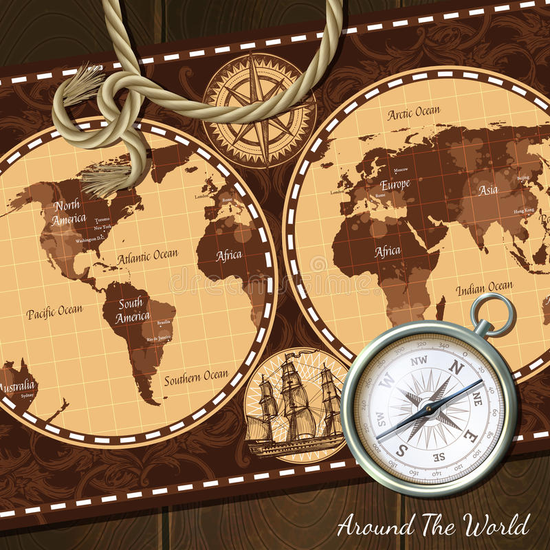 Download Vintage Nautical Map Compass Background Stock Vector