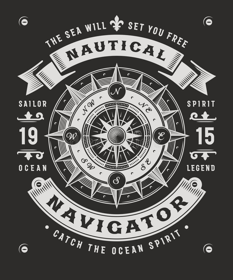 Vintage Nautical Navigator Typography On Black Background. T-shirt and label graphics with compass rose. Editable vector illustration in woodcut style. Adapted stock illustration