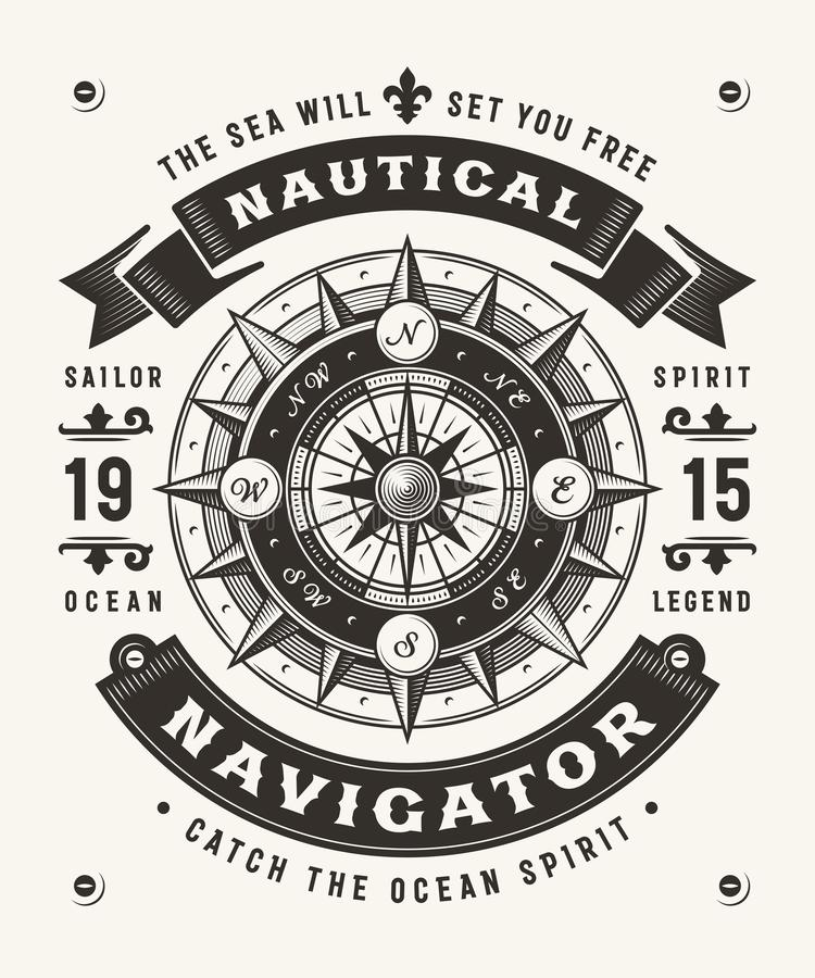 Vintage Nautical Navigator Typography One Color. Vintage nautical navigator typography, t-shirt and label graphics with compass rose. Editable one-colored EPS10 vector illustration