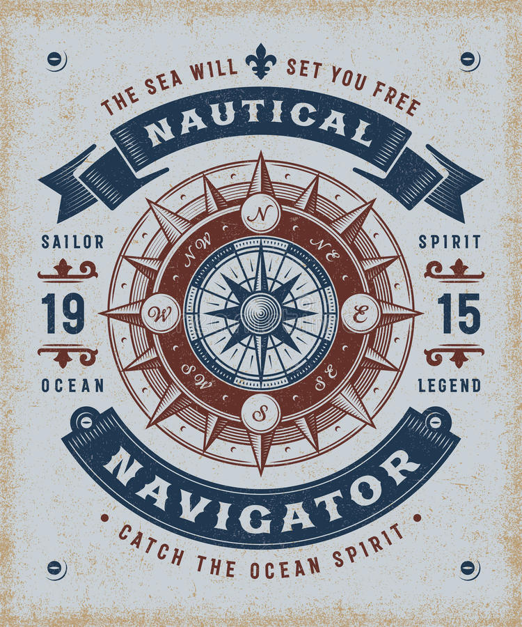 Vintage Nautical Navigator Typography. T-shirt and label graphics with compass rose. Editable EPS10 vector illustration in woodcut style stock illustration