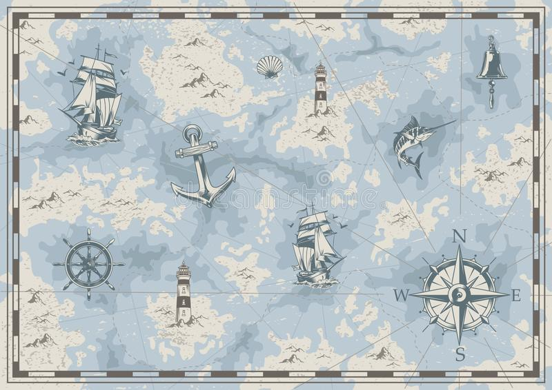 Vintage nautical old map concept. With ship bell lighthouse swordfish anchor wheel navigational compass seashell islands vector illustration vector illustration