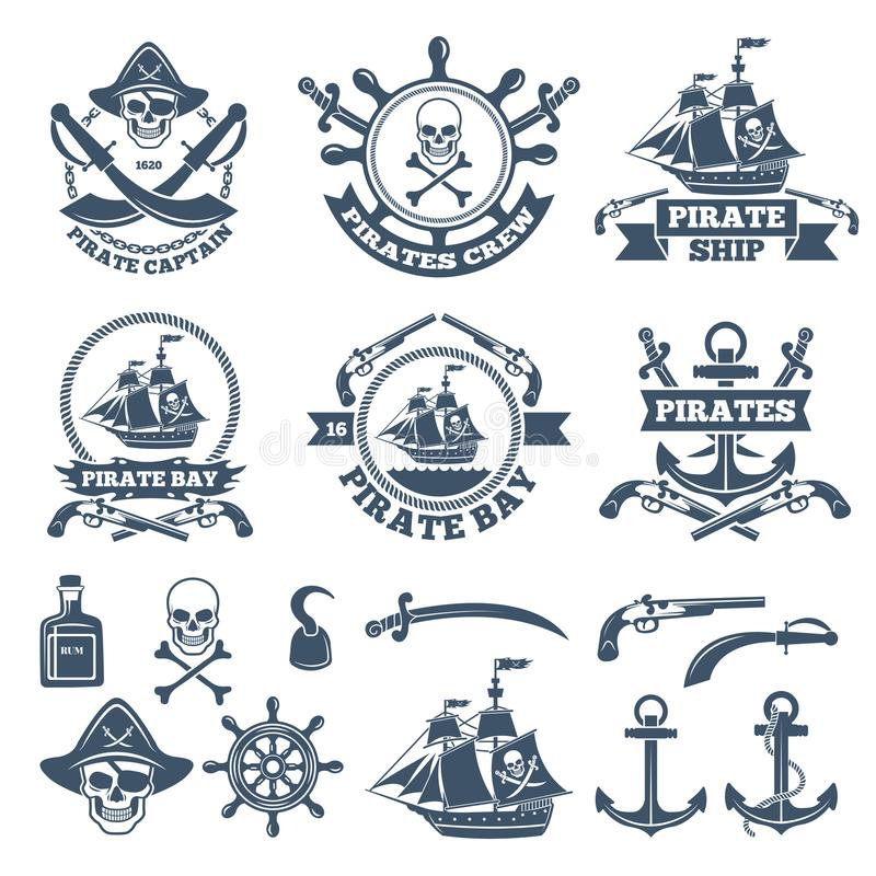 Vintage nautical and pirates labels. Monochrome logos of sea and sailing. Pirate label with skull and anchor, rum and weapon, vector illustration royalty free illustration