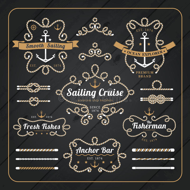 Free Vintage Nautical Rope Frame Labels Set On Dark Wood Background Royalty Free Stock Images - 57031809