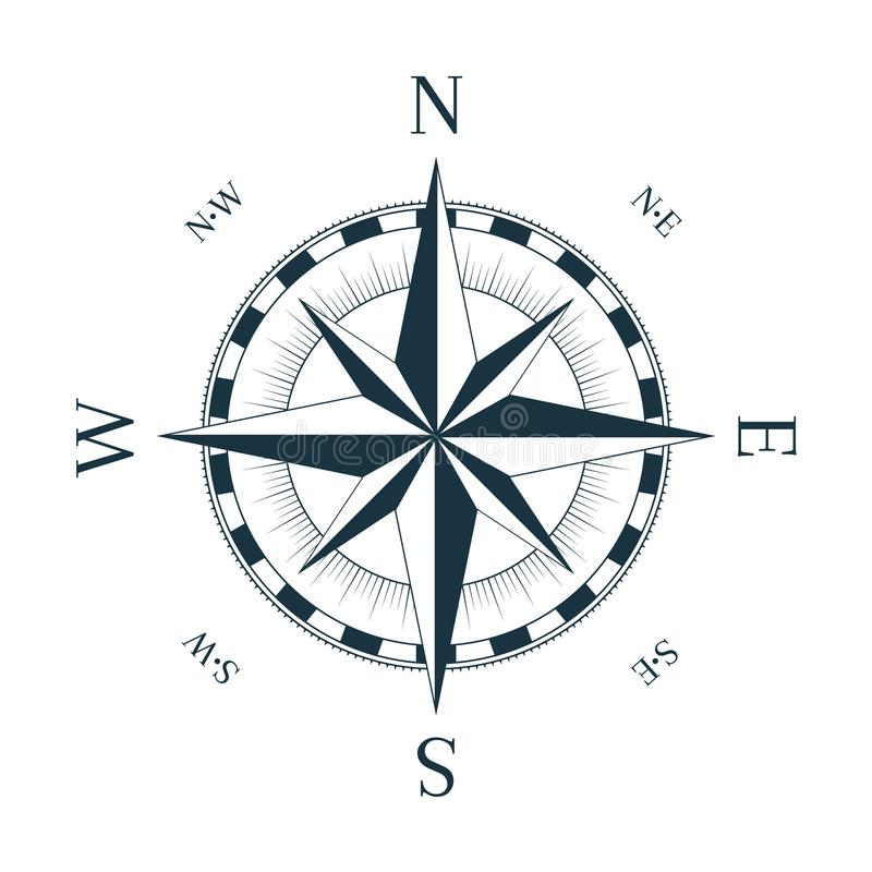 Vintage nautical rose of winds. With named direction royalty free illustration