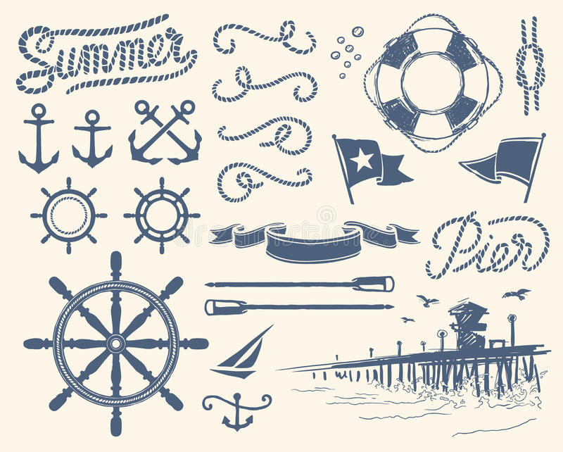 Download Vintage nautical set stock vector. Illustration of naval - 24080195
