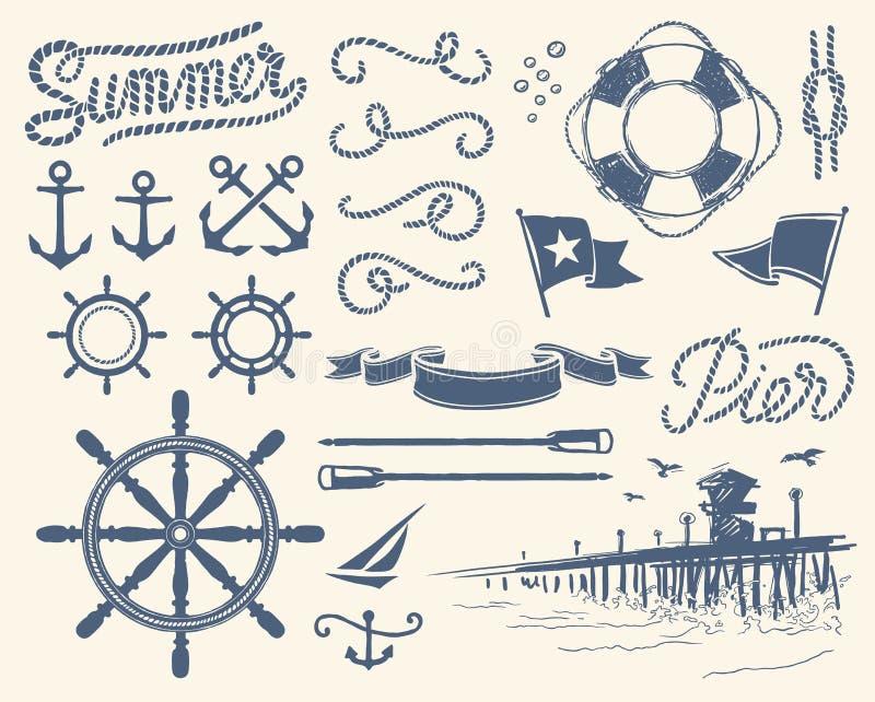 Vintage nautical set vector illustration