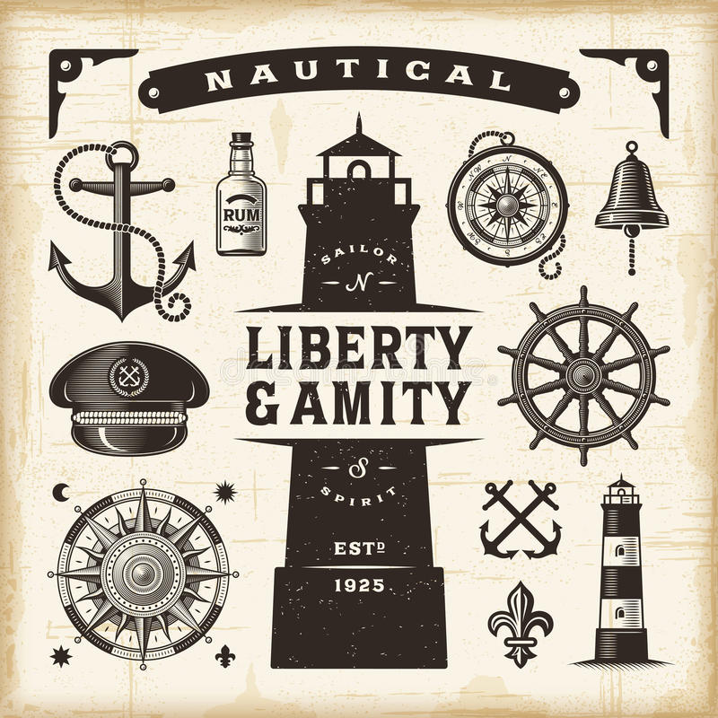 Vintage nautical set. A set of fully editable vintage nautical objects in woodcut style. EPS10 vector illustration vector illustration