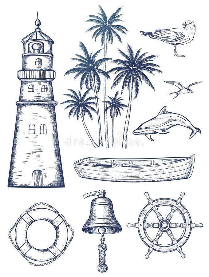 Vintage nautical set. Set of hand drawn vector vintage nautical set. Marine design elements vector illustration