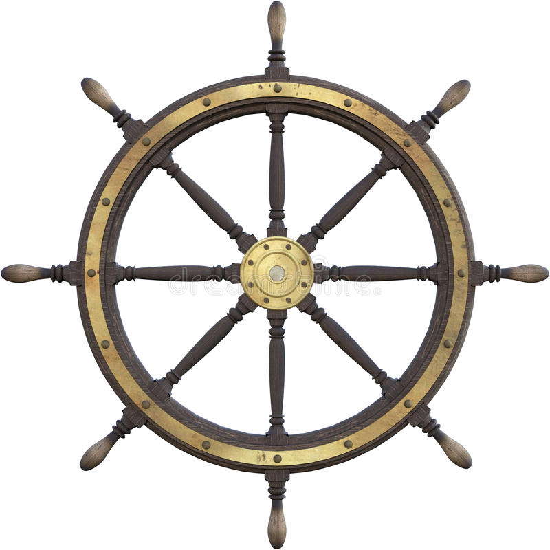 Vintage Nautical Ship Wheel Isolated. Old vintage retro wooden ship. The nautical ships steering column is isolated on white royalty free stock images