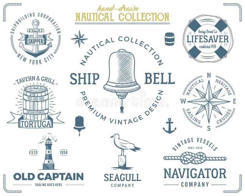 Vintage nautical stamps set. Old ship retro style. Sailing labels, emblems illustration. Nautical graphic symbols - rope. Wind rose, lighthouse. Vector royalty free illustration