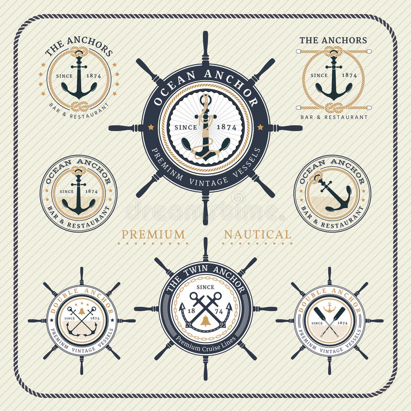 Vintage nautical steering wheel and anchor labels set royalty free illustration