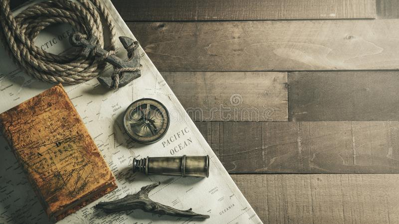 Vintage Nautical Travel Instruments With Rope And Anchor On Wooden Ship Deck Background - Travel / Leadership Concept stock image