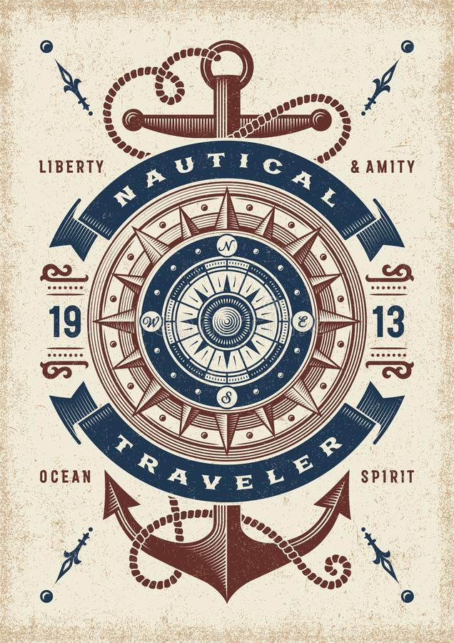 Vintage Nautical Traveler Typography. T-shirt and label graphics with compass rose and anchor. Editable EPS10 vector illustration in woodcut style stock illustration