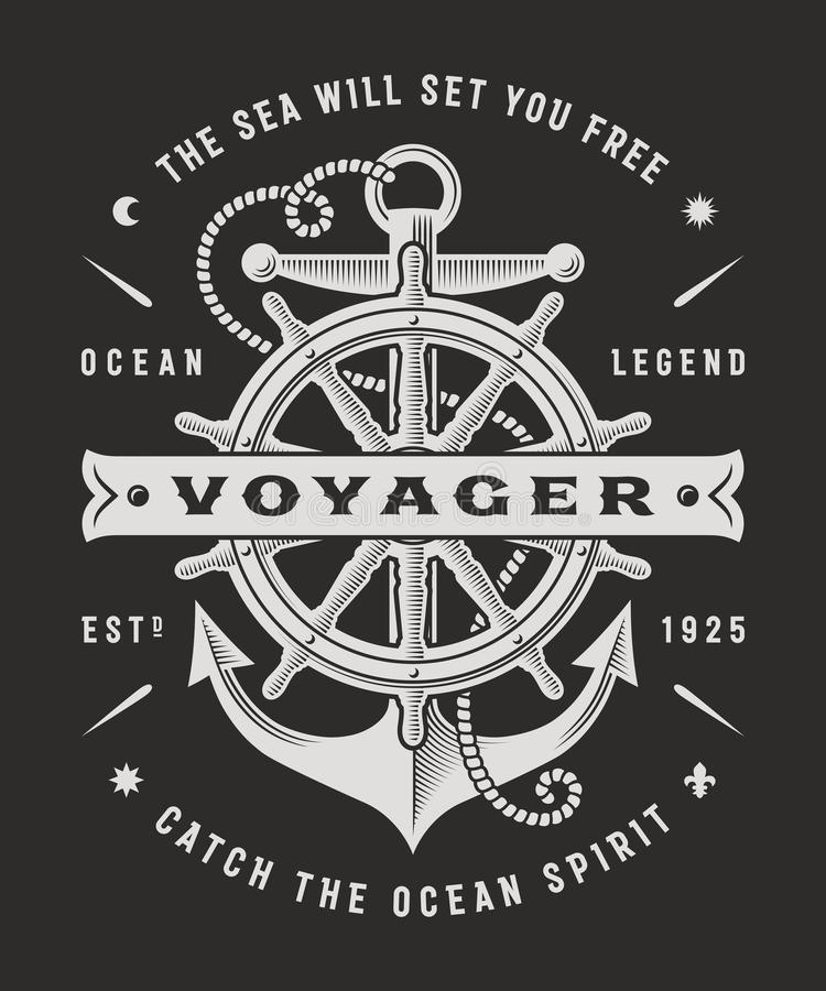 Vintage Nautical Voyager Typography On Black Background. T-shirt and label graphics with steering wheel and anchor. Editable vector illustration in woodcut royalty free illustration