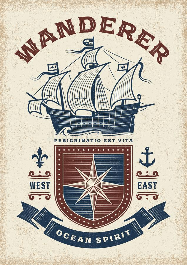 Vintage Nautical Wanderer Typography. T-shirt and label graphics with sailboat and shield. Editable EPS10 vector illustration with clipping mask in woodcut stock illustration