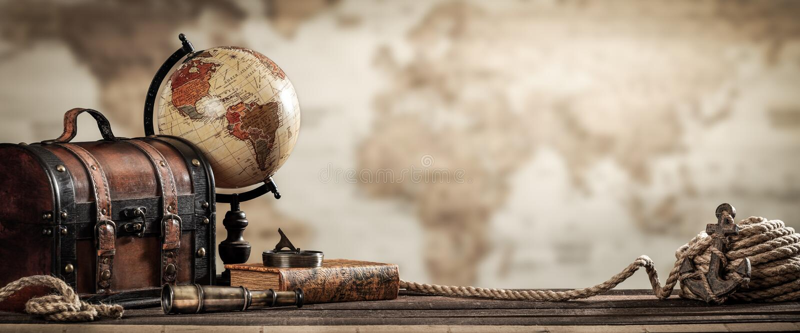 Vintage Nautical World Travel Concept Grunge Effect royalty free stock photo