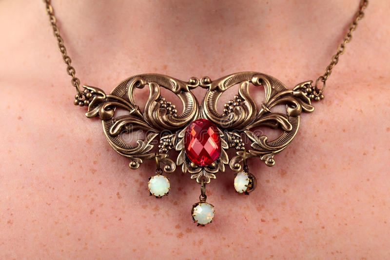 Vintage necklace red gem royalty free stock image