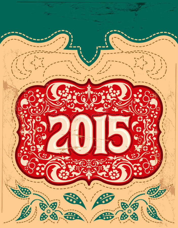 2015 vintage New Year holidays design - western style. 2015 New Year holidays design - western style - cowboy belt buckle - eps available royalty free illustration