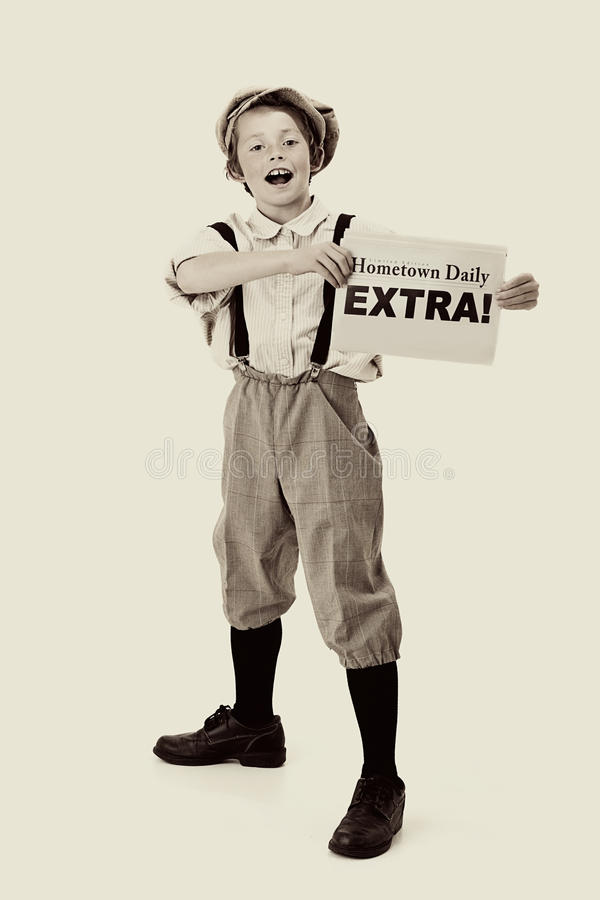 Vintage Newsboy stock photography
