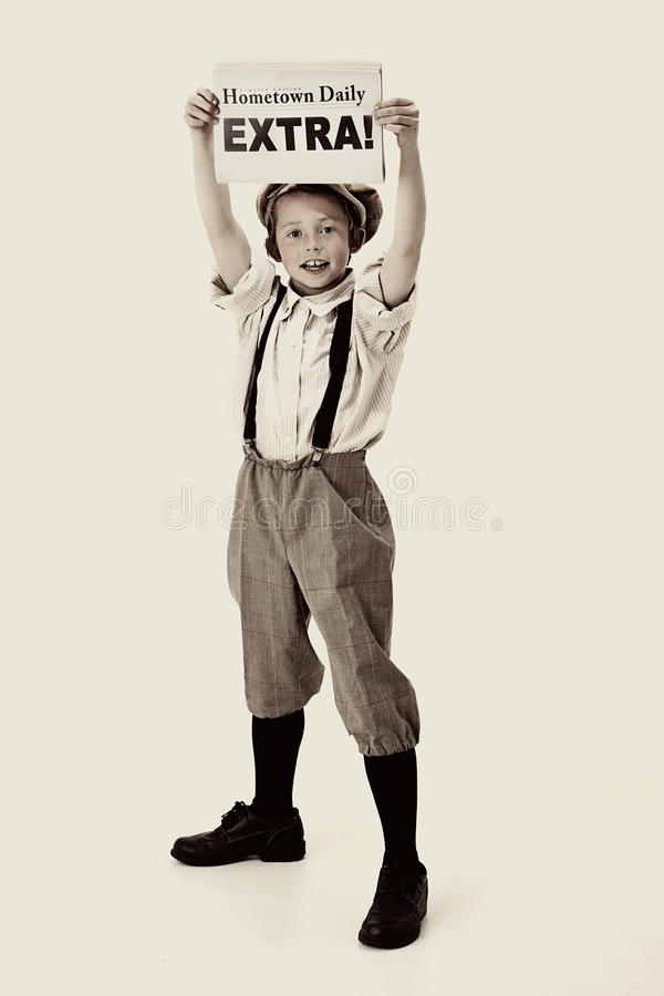 Vintage Newsboy royalty free stock image