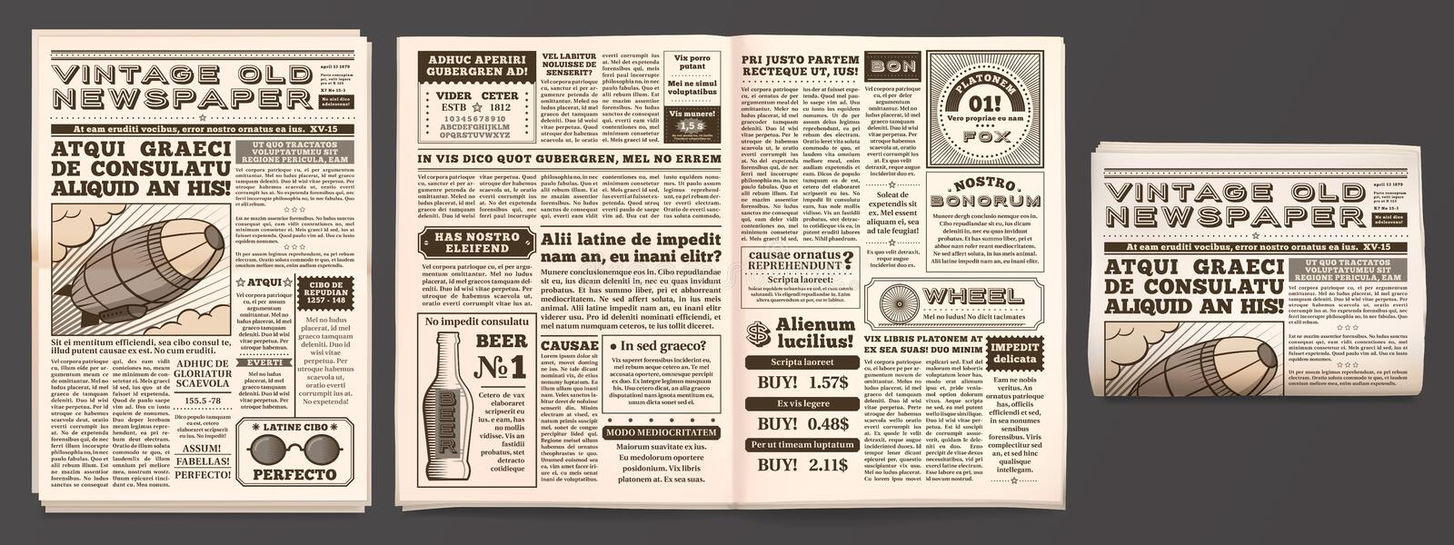Vintage newspaper mockup. Retro newsprint pages, tabloid magazine and old news isolated 3D vector template. Vintage newspaper mockup. Retro newsprint pages vector illustration