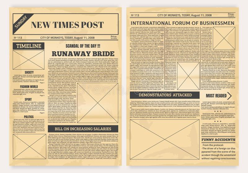 Vintage newspaper. Old realistic pages with headers and place for pictures, retro article layout. Vector background with royalty free illustration