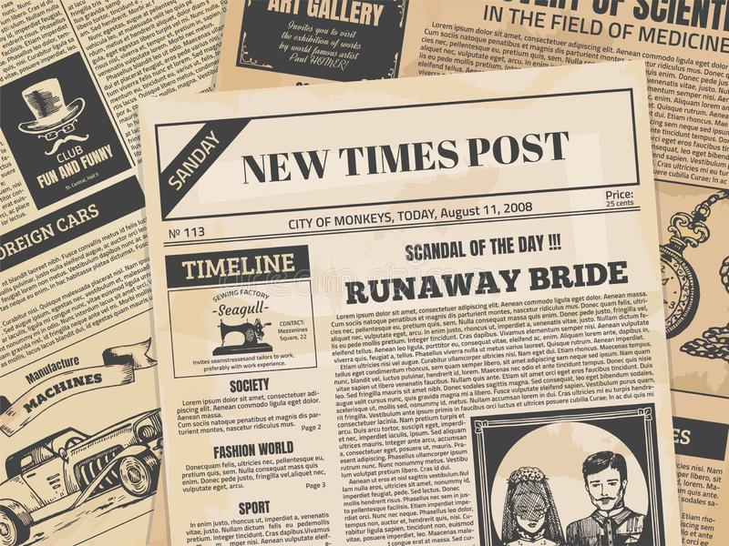 Vintage newspaper. Retro newsprint or magazine page with grunge texture and old headers. Vector ancient paper news vector illustration