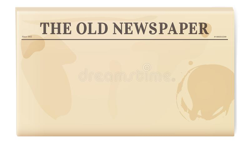 Vintage newspaper template. Folded cover page of a news magazine vector illustration