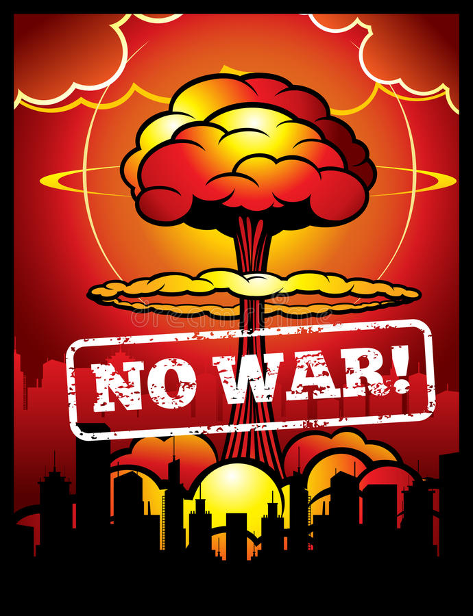 Vintage no war vector poster with explosion of atomic bomb and nuclear mushroom. World armageddon background stock illustration