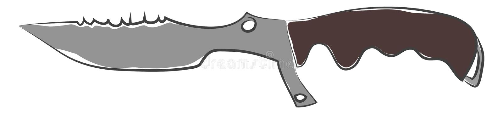 Vintage Noah fighting pipe/Vintage knife vector or color illustration. Vintage Noah fighting pipe of an ancient model with a black-colored handle vector color stock illustration