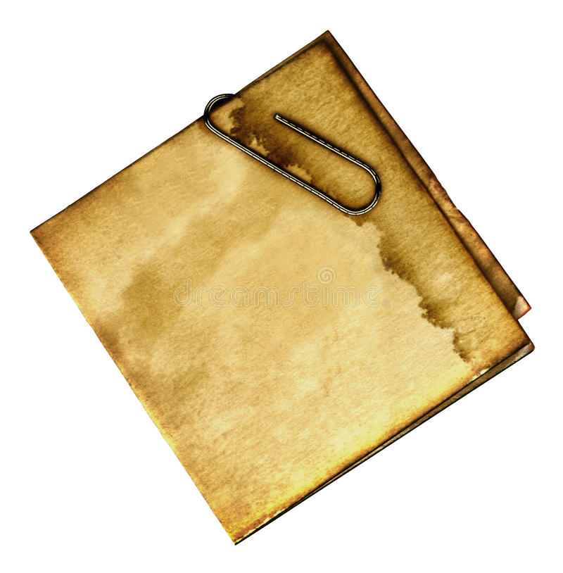 Vintage Note. This is a scan of a stained folded note with a paper clip stock photography