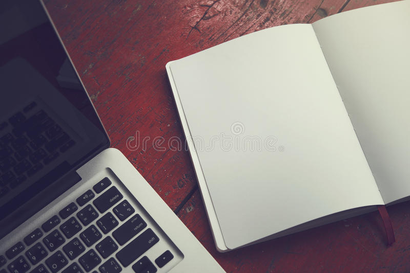 Vintage notebook and computer royalty free stock photos
