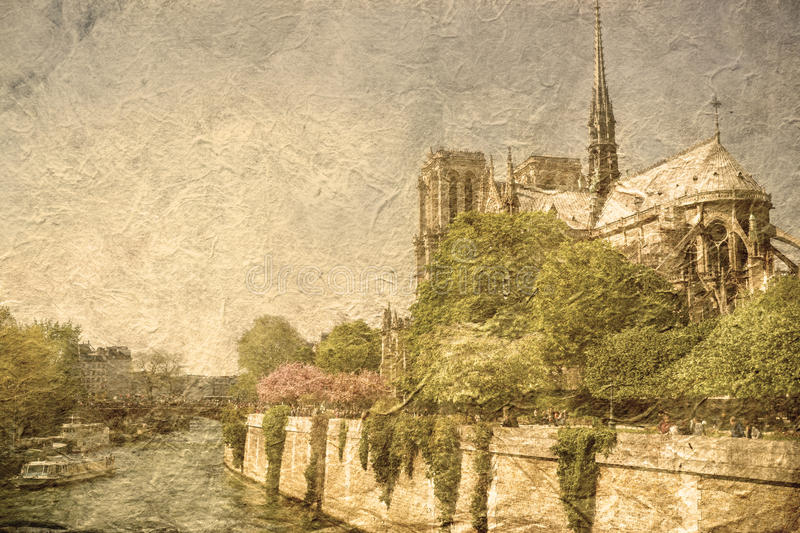 Vintage Notre-Dame Cathedral Paris. The Notre-Dame Cathedral with an old and grungy texture look. Paris, France stock photography
