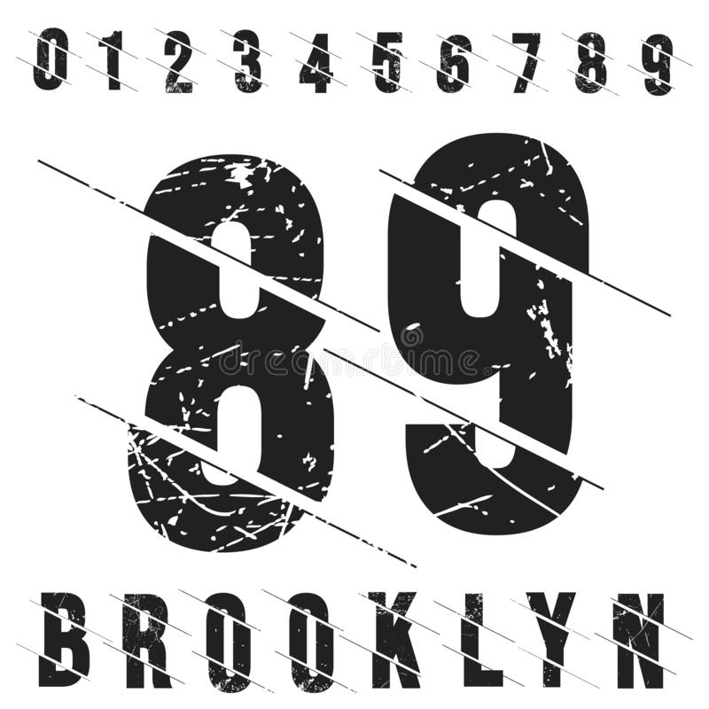 Free Vintage Numbers T-shirt Stamp. Grunge Textured Number 0 1 2 3 4 5 6 7 8 9 Royalty Free Stock Images - 144135469