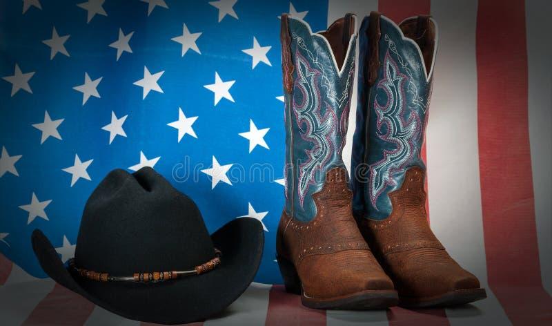 Vintage ocidental do vaqueiro da bandeira americana fotografia de stock royalty free