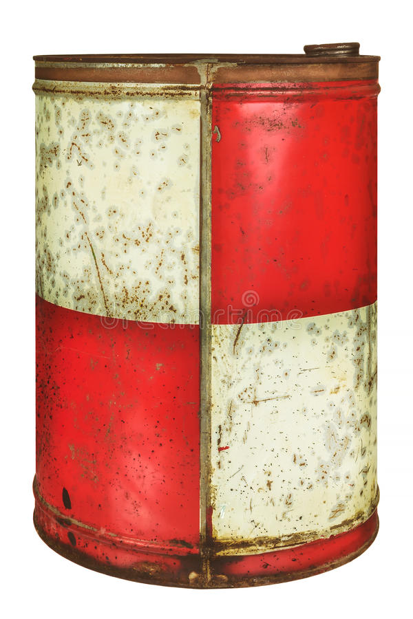 Vintage oil barrel isolated on white stock photography