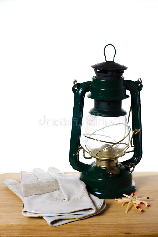 Free Vintage Oil Lamp Gloves And Matches Royalty Free Stock Image - 22968226