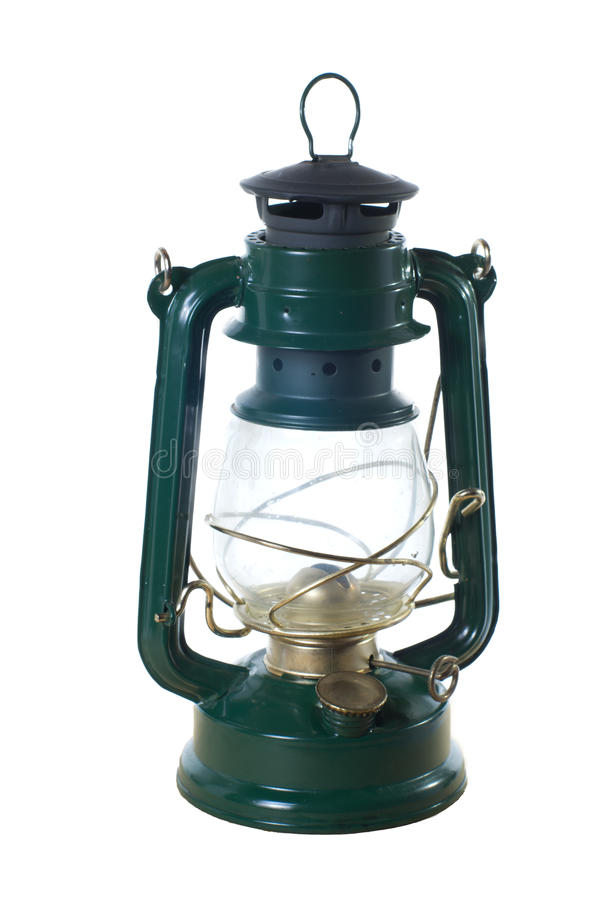 Vintage oil lamp isolated on white stock photography